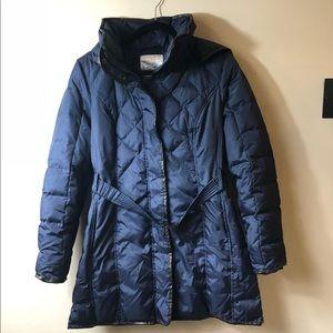 Kensie Navy Blue Belted long Puffer Jacket
